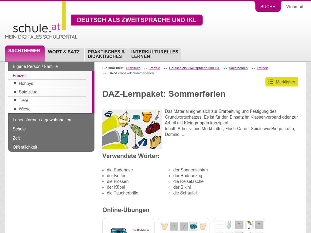 Cover: DAZ-Lernpaket   Sommerferien