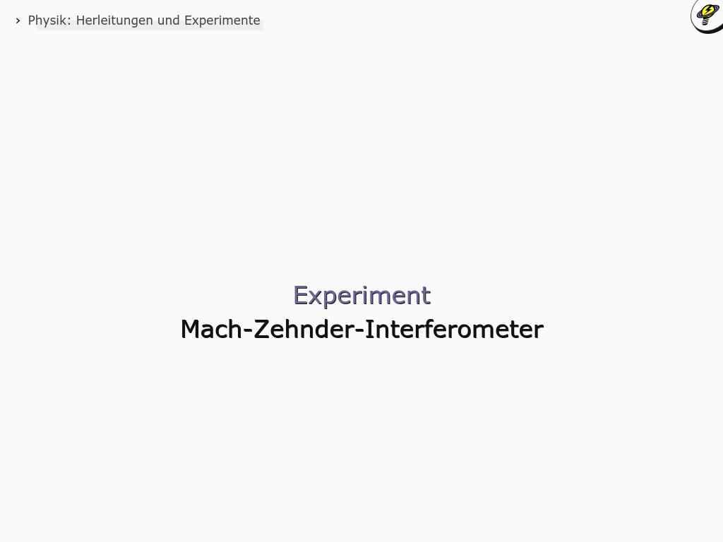 Cover: Mach-Zehnder-Interferometer - Experiment