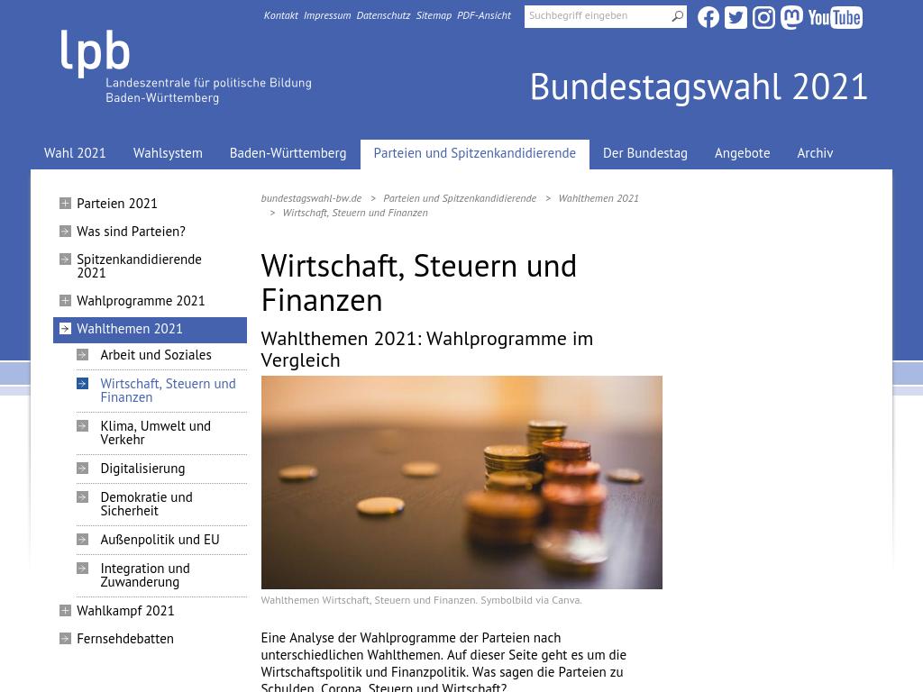 Cover: Wirtschaft und Finanzen - Wahlthemen Bundestagswahl 2021 - Wahlprogramme