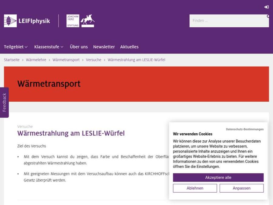 Cover: Wärmestrahlung am LESLIE-Würfel