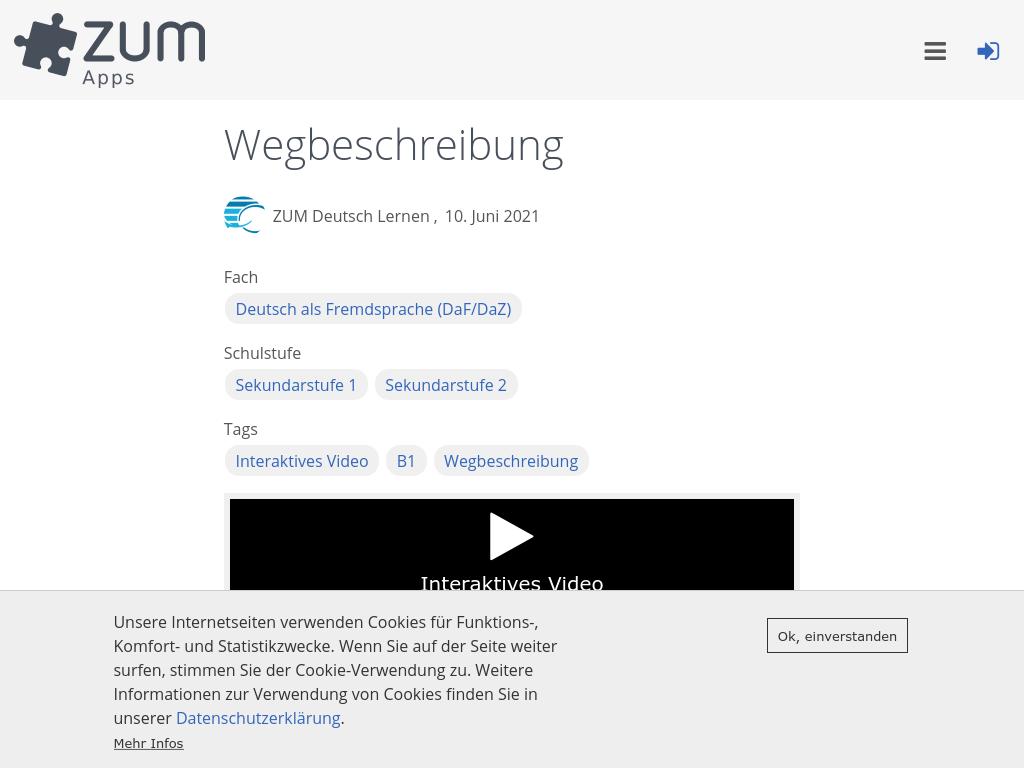 Cover: Wegbeschreibung | ZUM-Apps