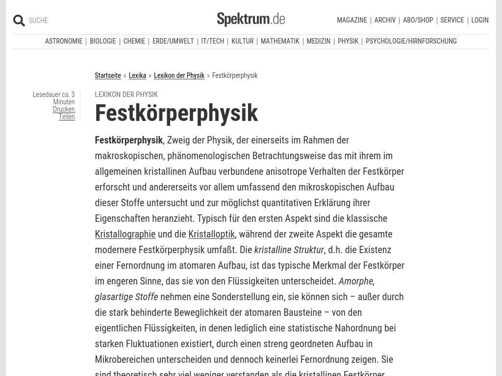 Cover: Festkörperphysik - Lexikon der Physik