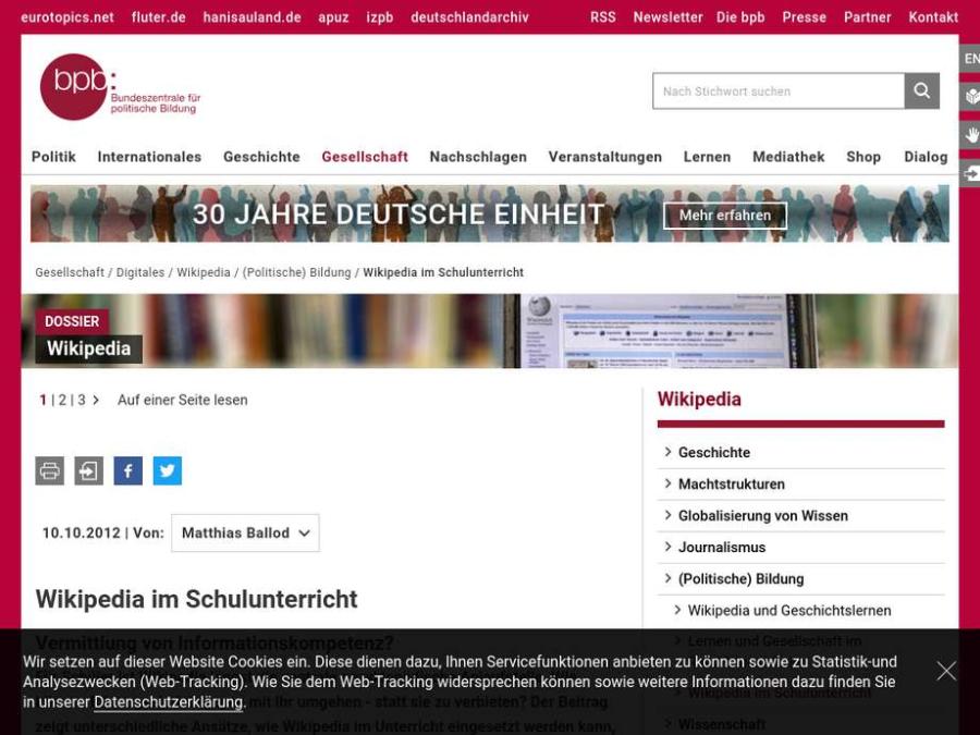Cover: Wikipedia im Schulunterricht