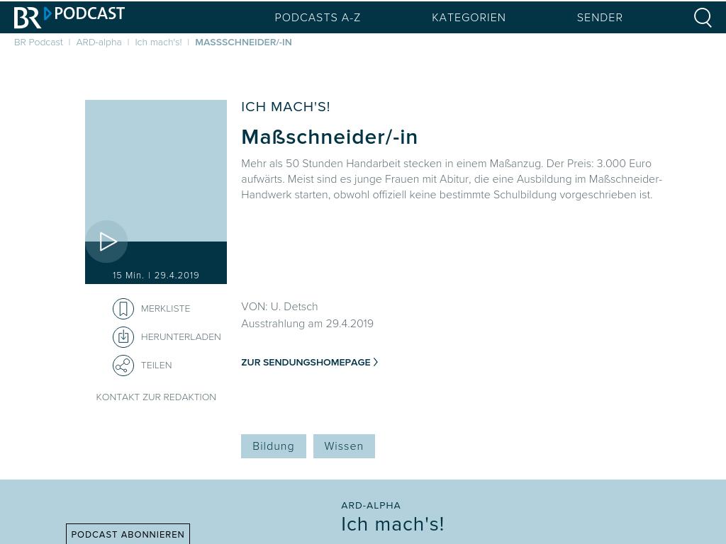 Cover: Maßschneider/-in