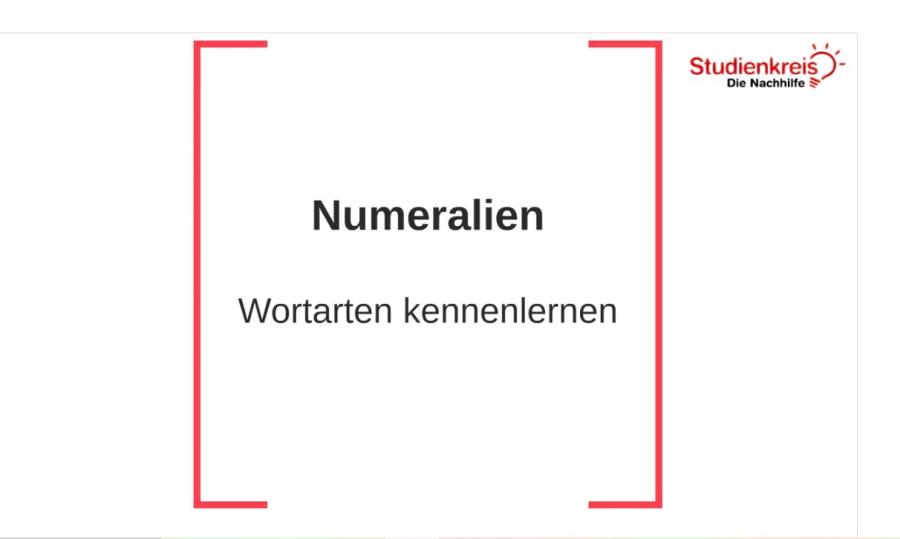 Cover: Numeralien | Wortarten kennenlernen