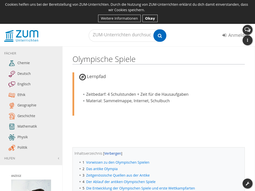 Cover: Olympische Spiele   Lernpfad