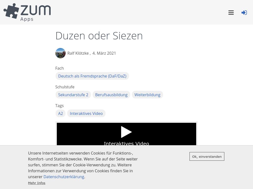 Cover: Duzen oder Siezen   ZUM-Apps