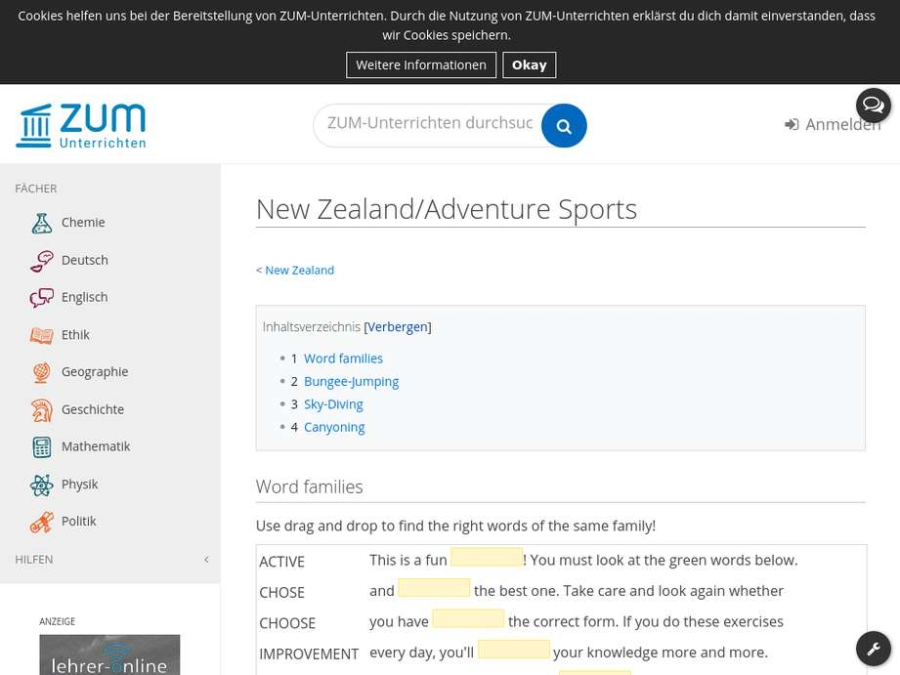 Cover: New Zealand/Adventure Sports