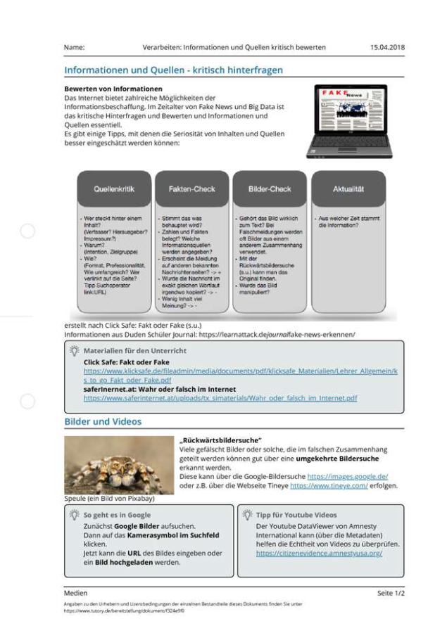 Cover: Verarbeiten: Informationen und Quellen kritisch bewerten