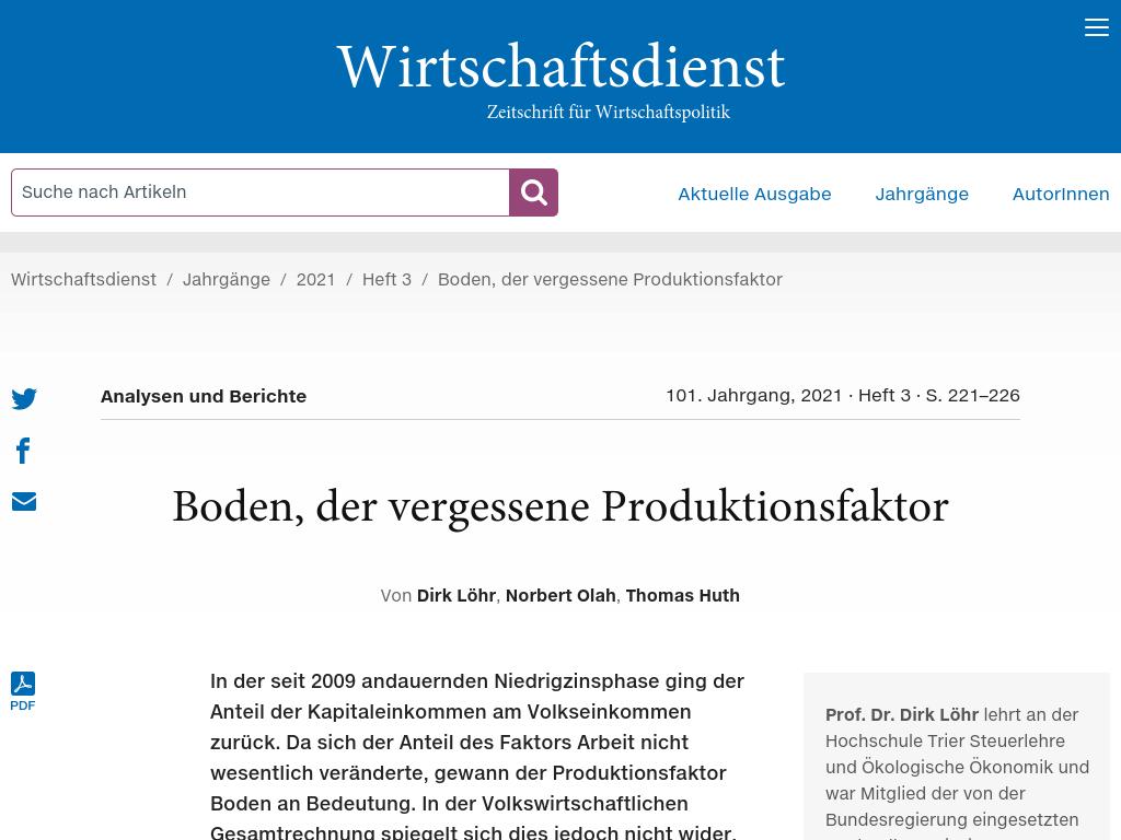 Cover: Boden, der vergessene Produktionsfaktor