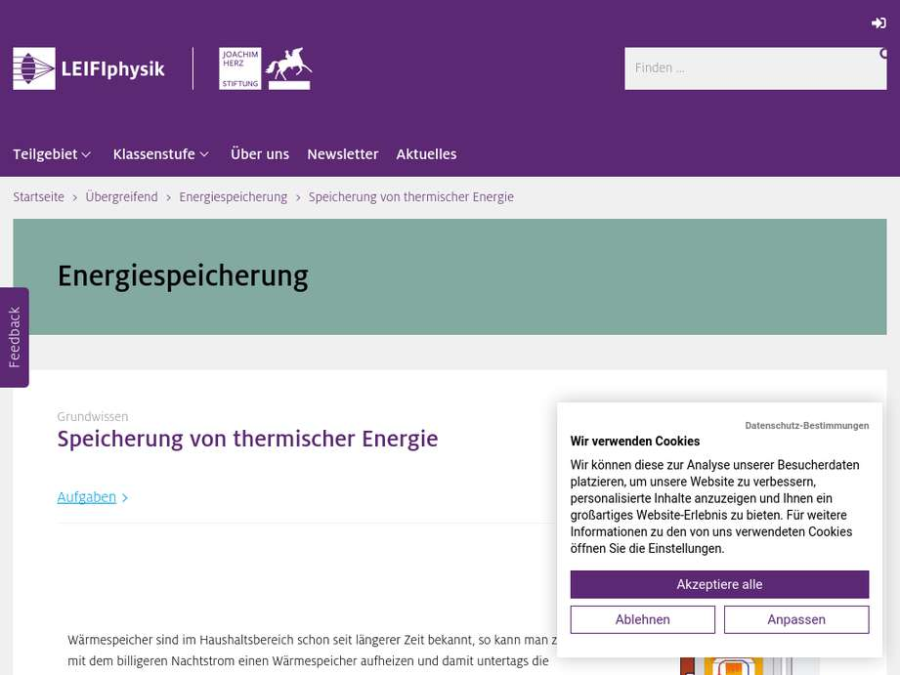 Cover: Speicherung von thermischer Energie