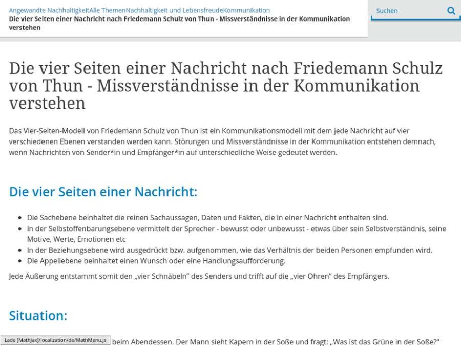 Cover: Die vier Seiten einer Nachricht nach Friedemann Schulz von Thun - Missverständnisse in der Kommunikation verstehen