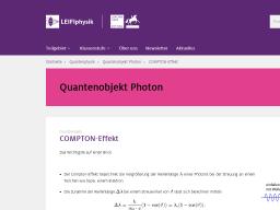 Cover: COMPTON-Effekt   LEIFIphysik