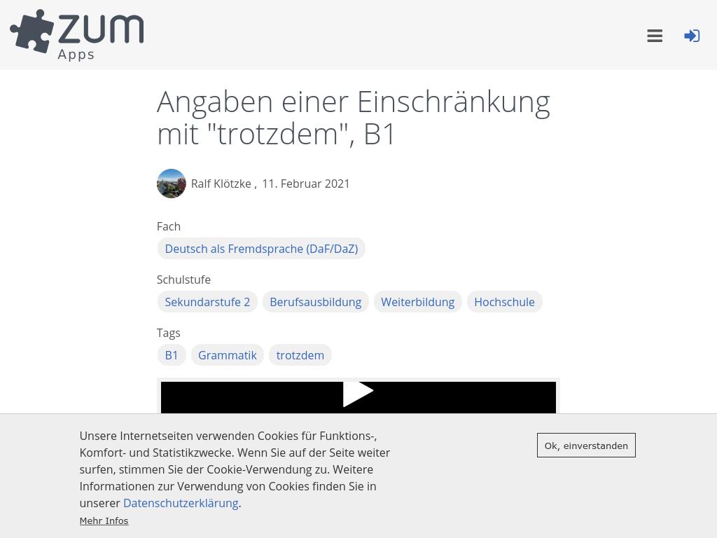 Cover: Angaben einer Einschränkung mit TROTZDEM | ZUM-Apps