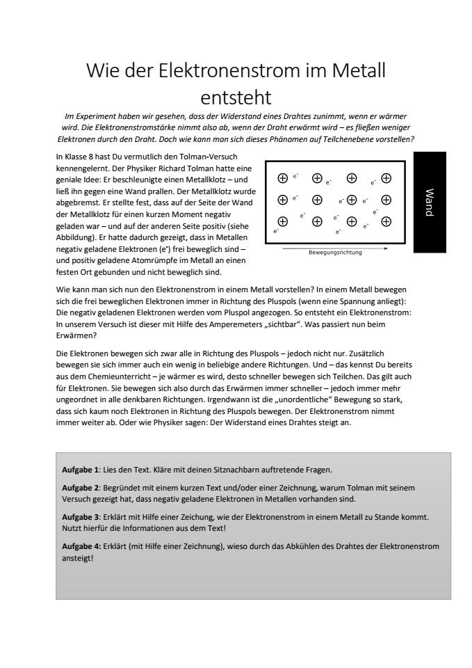 Cover: Elektronenstrom in Metallen