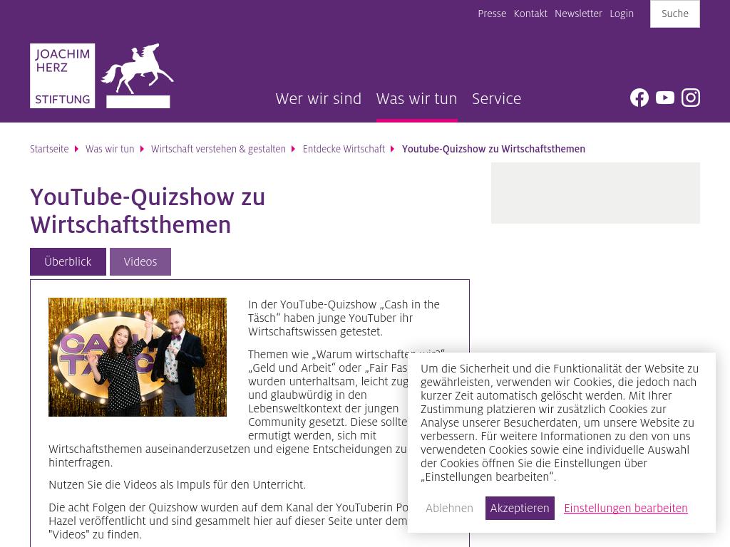 Cover: Youtube-Quizshow zu Wirtschaftsthemen - Joachim Herz Stiftung