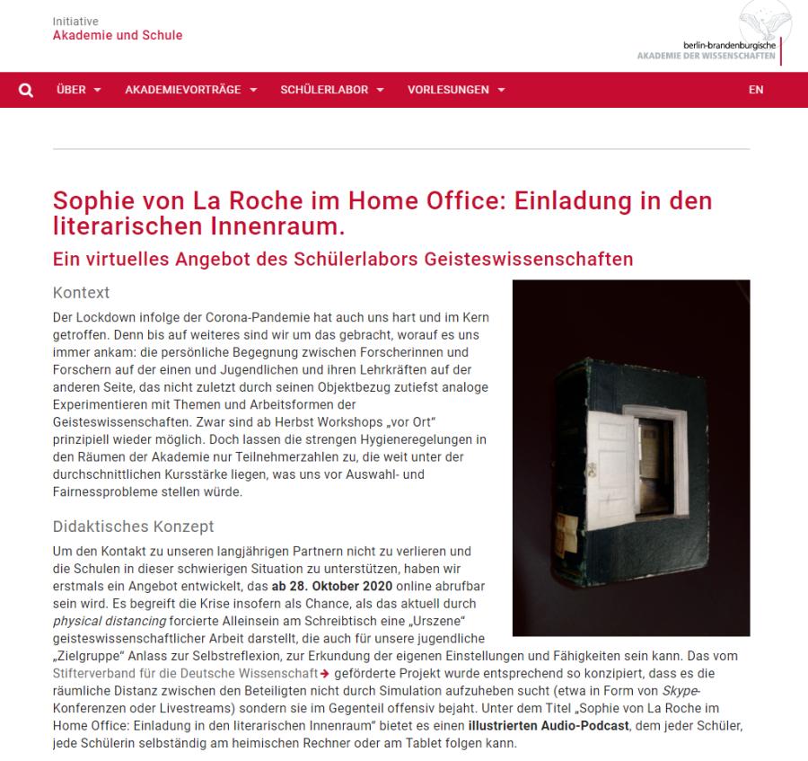Cover: Virtuelles Schülerlabor: Sophie von La Roche im Home Office: Einladung in den literarischen Innenraum