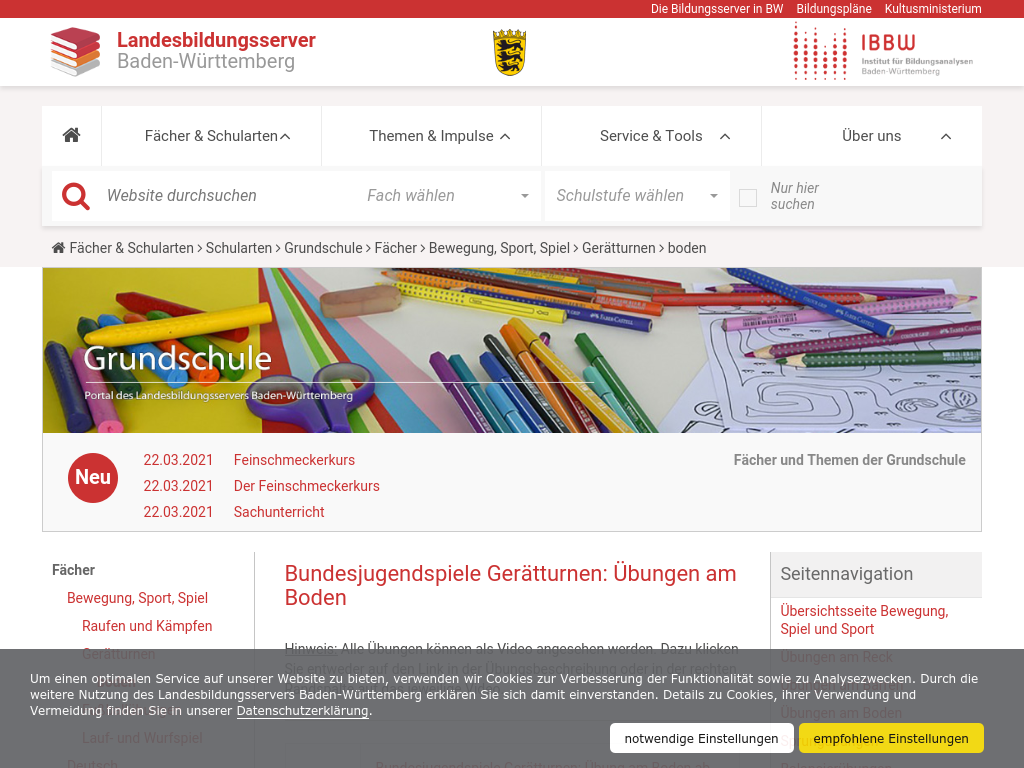 Cover: Bundesjugendspiele Gerätturnen: Übungen am Boden