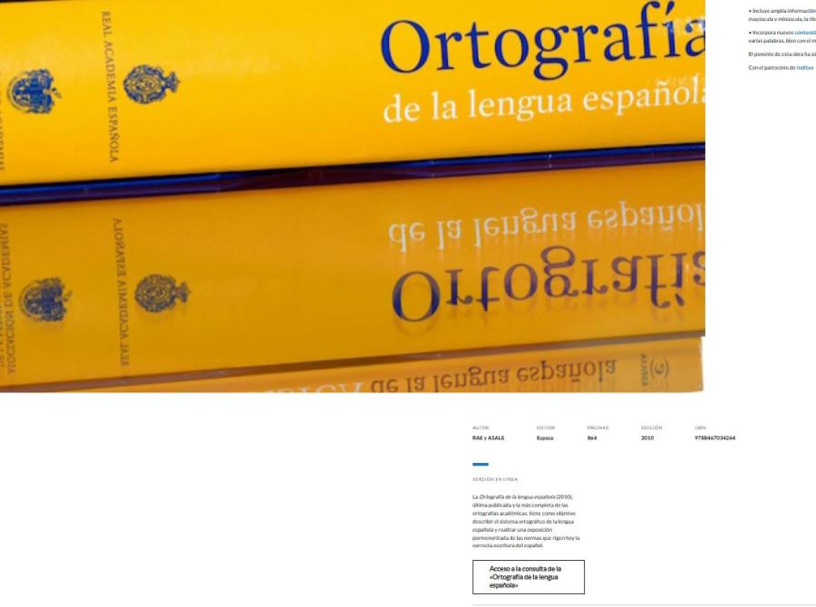 Cover: Ortografía de la lengua española   RAE