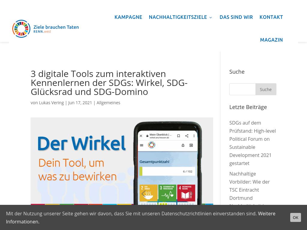 Cover: Wirkel, SDG-Glücksrad und SDG-Domino: Digitale Tools rund um SDGs