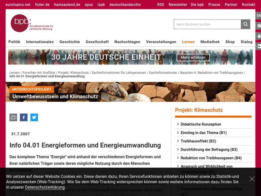 Cover: Glossar: Energieformen und Energieumwandlung