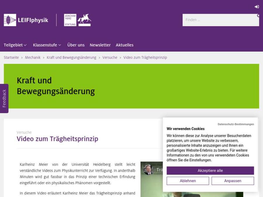 Cover: Video zum Trägheitsprinzip
