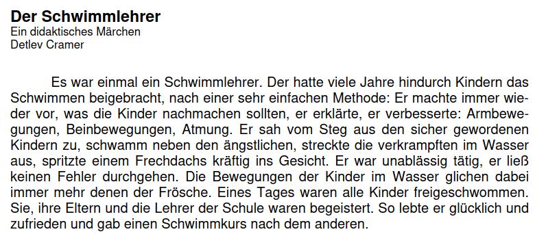 Cover: Der Schwimmlehrer - Ein didaktisches Märchen von Detlev Cramer