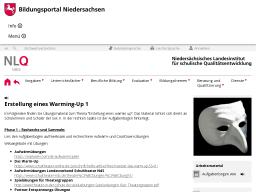 Cover: Erstellung eines Warming-Up 1 - Niedersächsischer Bildungsserver