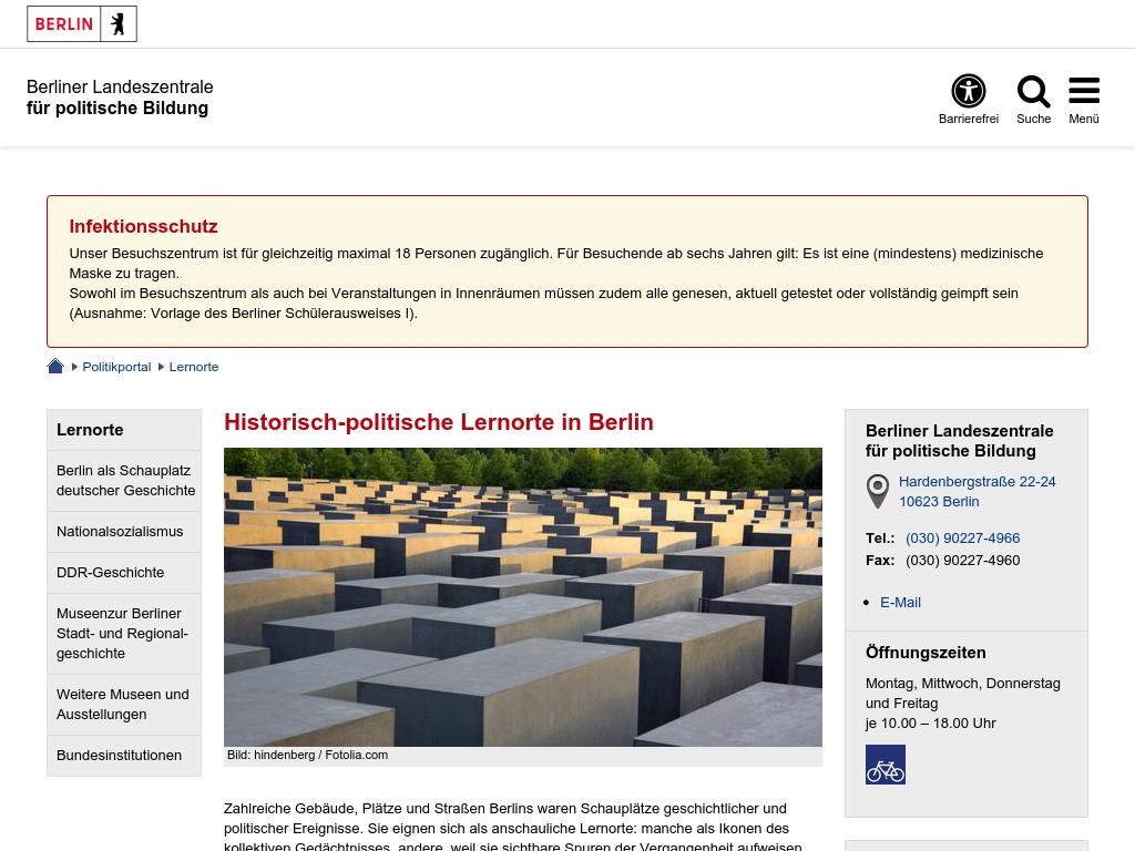 Cover: Historisch-politische Lernorte in Berlin - Berlin.de