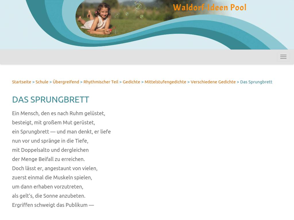 Cover: Das Sprungbrett - Gedicht von Eugen Roth